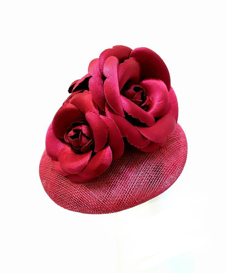 Red cocktail occasion hat with handmade Camelia flowers