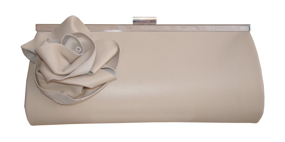 Nude leather clutch bag with rose detail