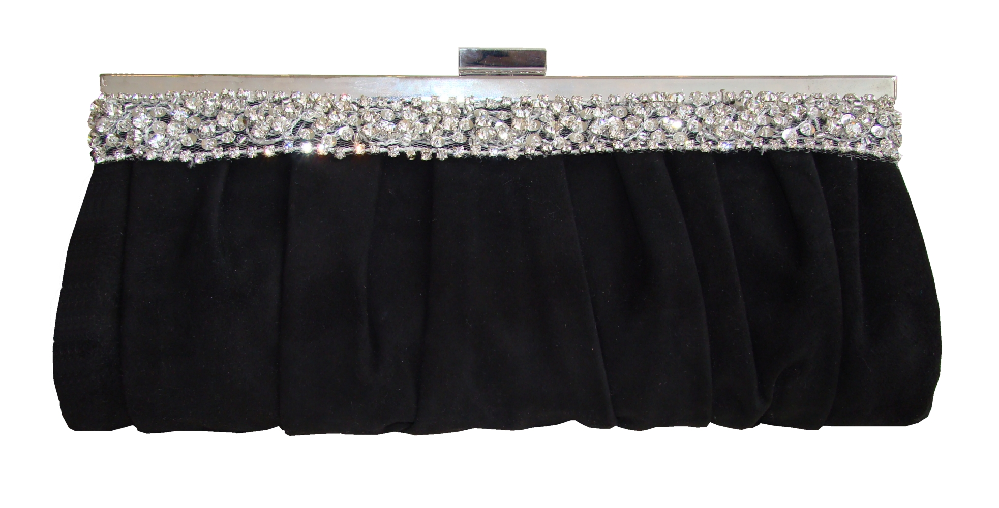 Black suede and diamantee clutch bag