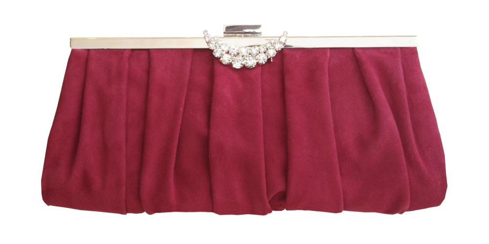 Red suede clutch bag with moon diamantee decoration