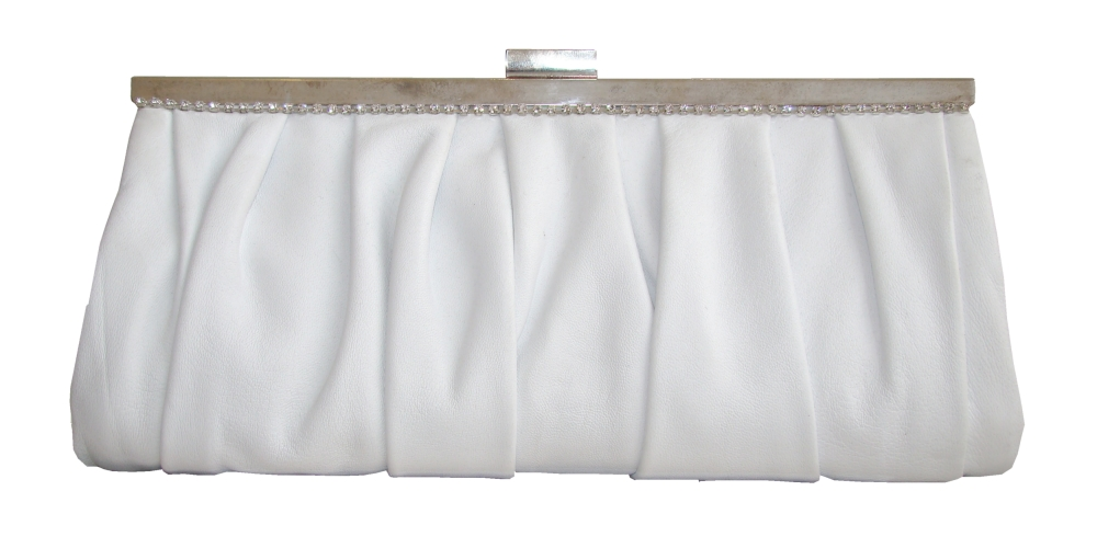 White leather clutch bag with sparkly trim