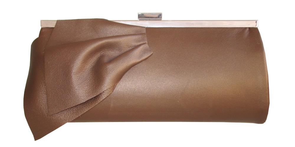 Bronze brown leather clutch bag with bow detail