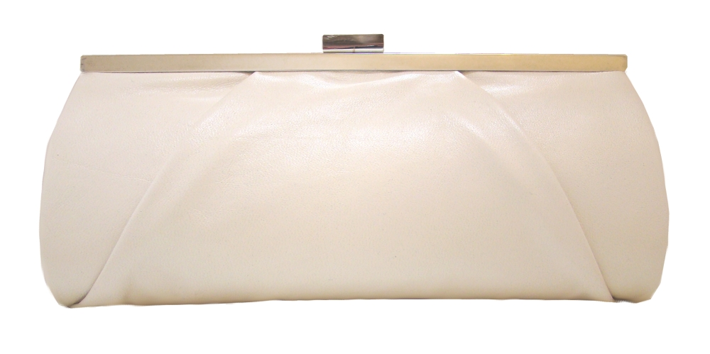 Nude leather designer clutch bag