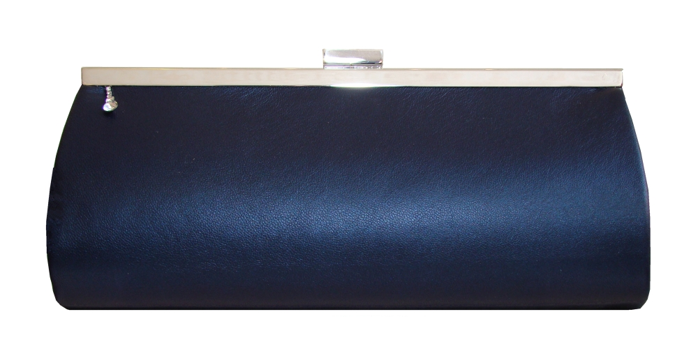 Navy blue leather clutch bag with diamontee drop