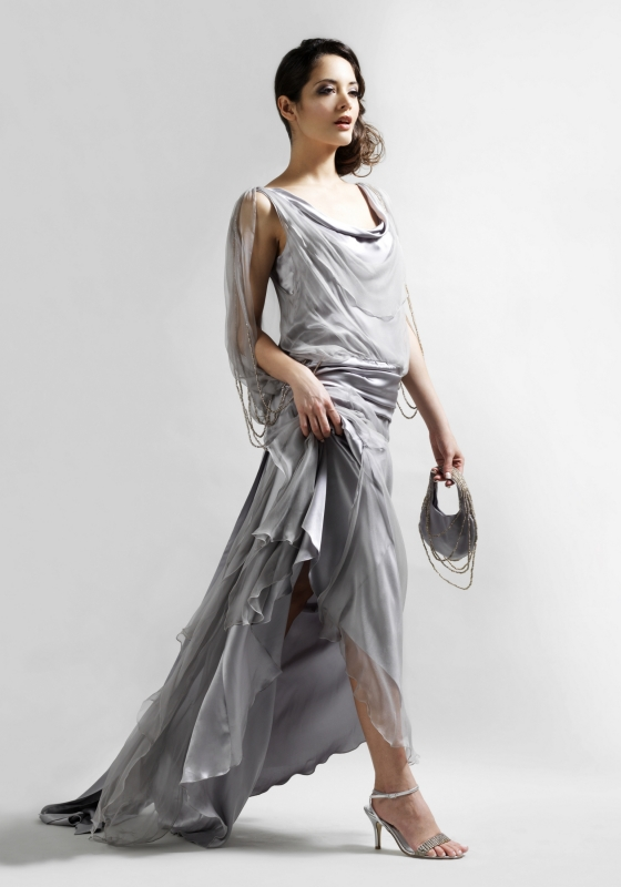 Silk chiffon layered vintage inspired evening gown with matching bag
