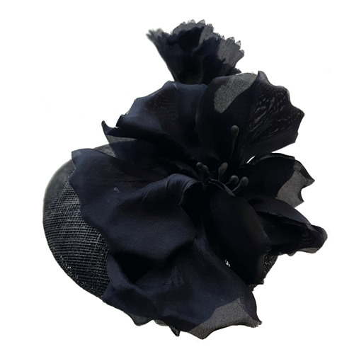 Navy cocktail hat with silk flowers