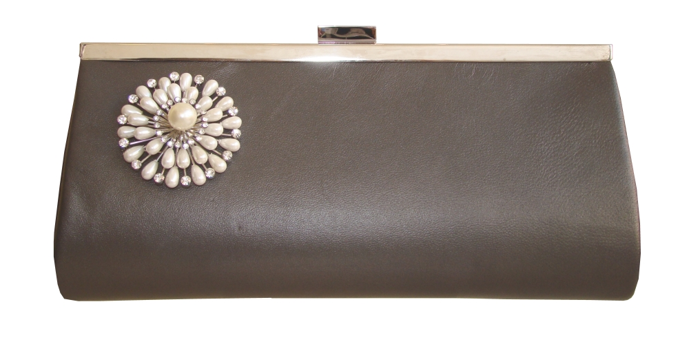 Pewter grey leather designer clutch bag with pearl decoration