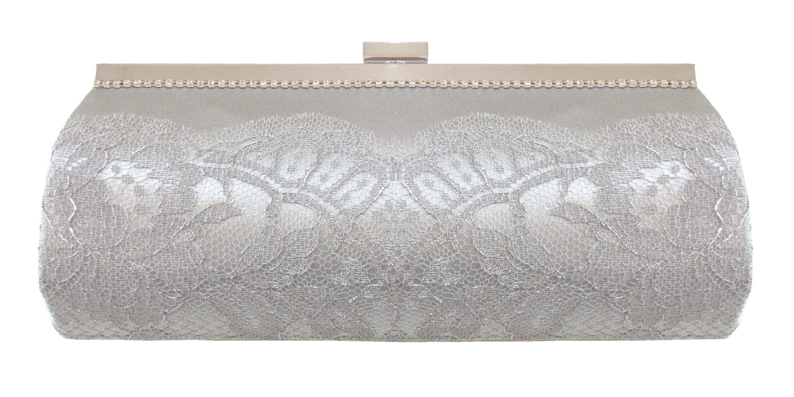 Silver silk and French lace couture clutch bag
