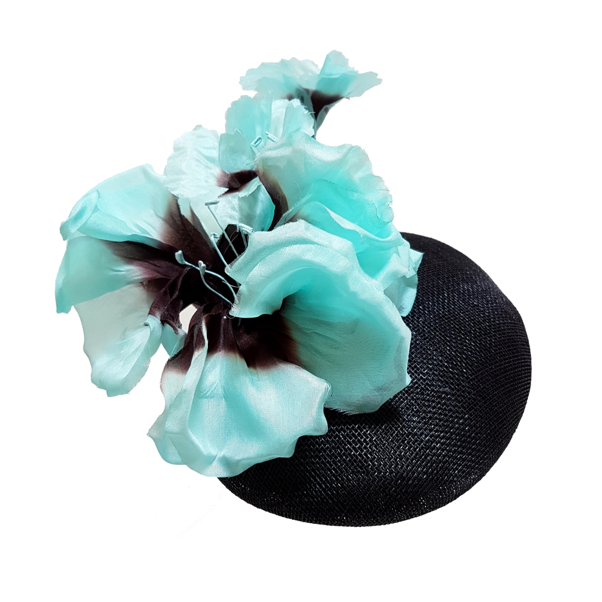 Black and turquoise couture cocktail hat