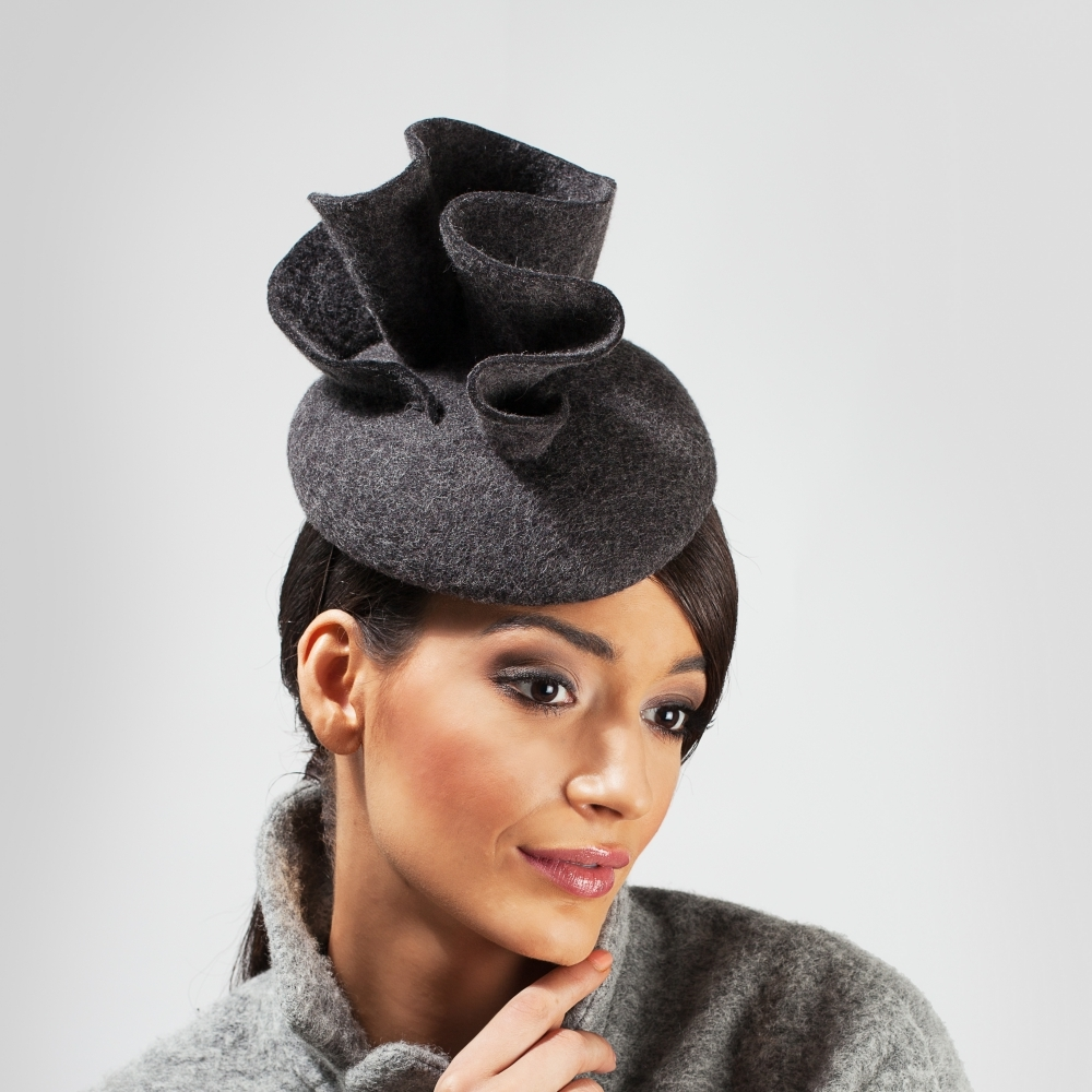 Northern lights inspired grey felt cocktail hat
