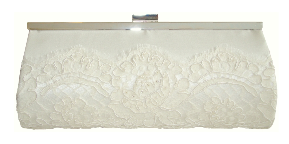 Ivory / White silk and corded lace wedding clutch bag