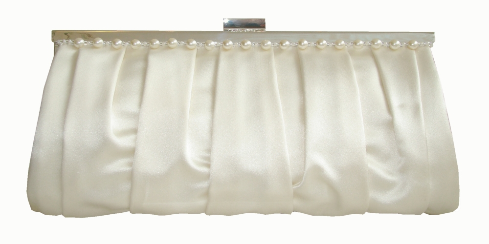 Bridal silk wedding clutch bag with pearls