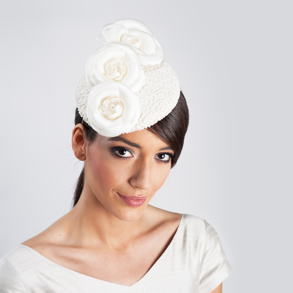 Beaded silk cocktail hat with handmade silk flowers in ivory