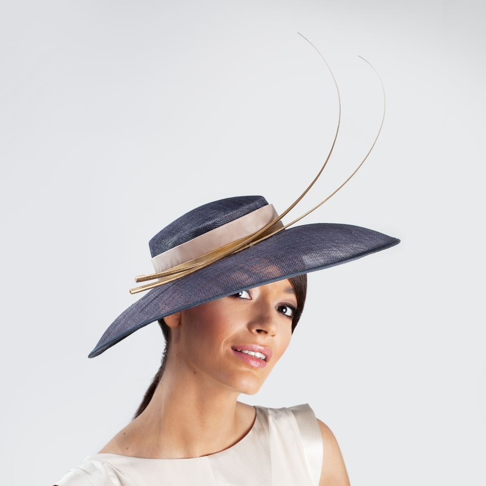 Grey occasion designer hat with gold quills