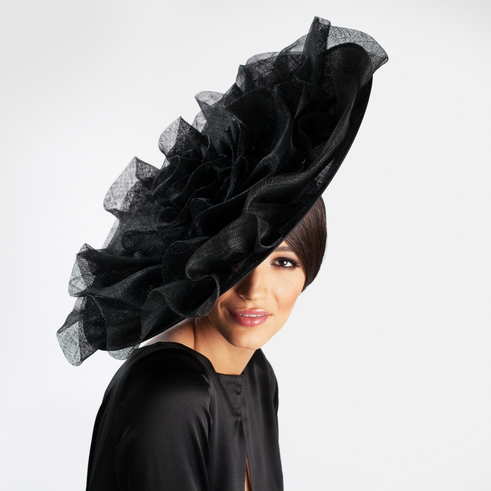 Large black couture occasion hat