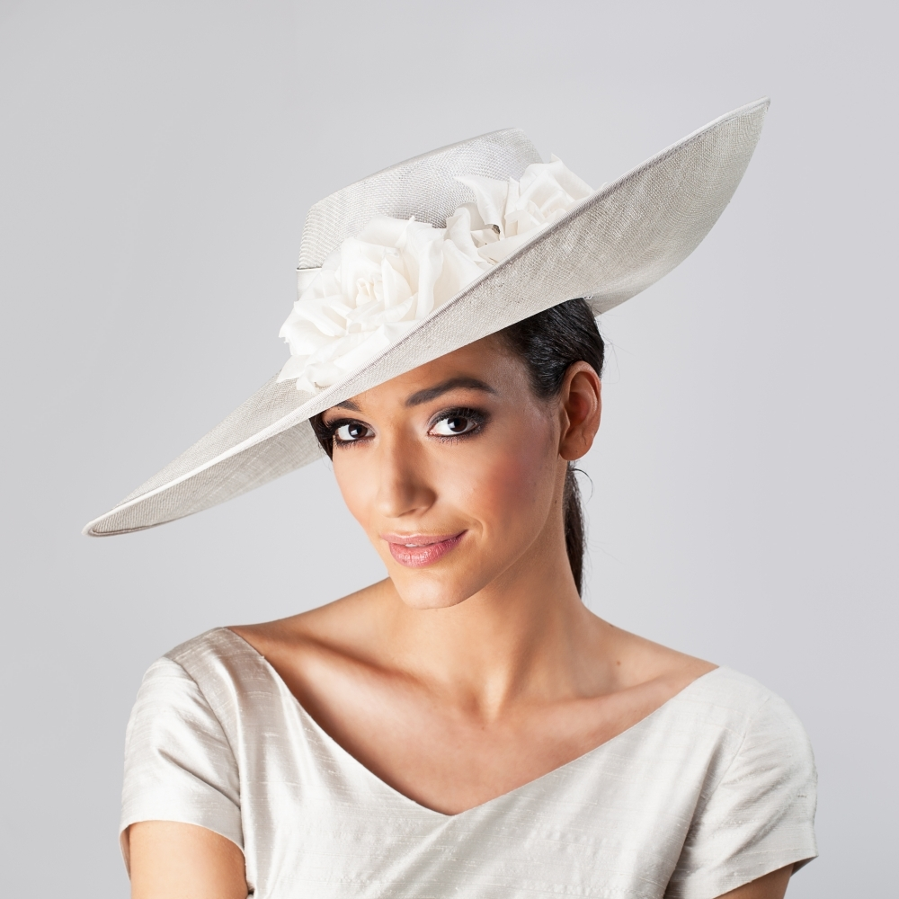 Silver grey occasion hat with white silk flowers