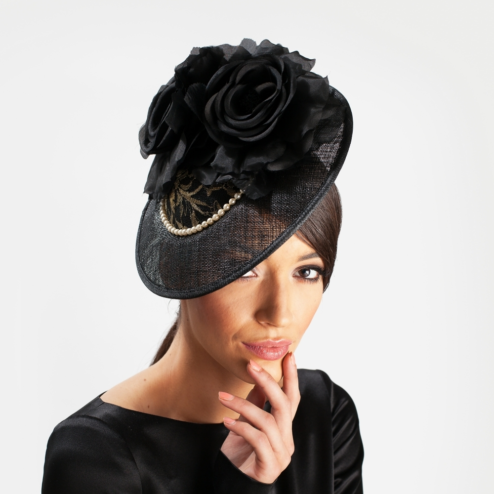 Black disc cocktail hat with silk flower and lace