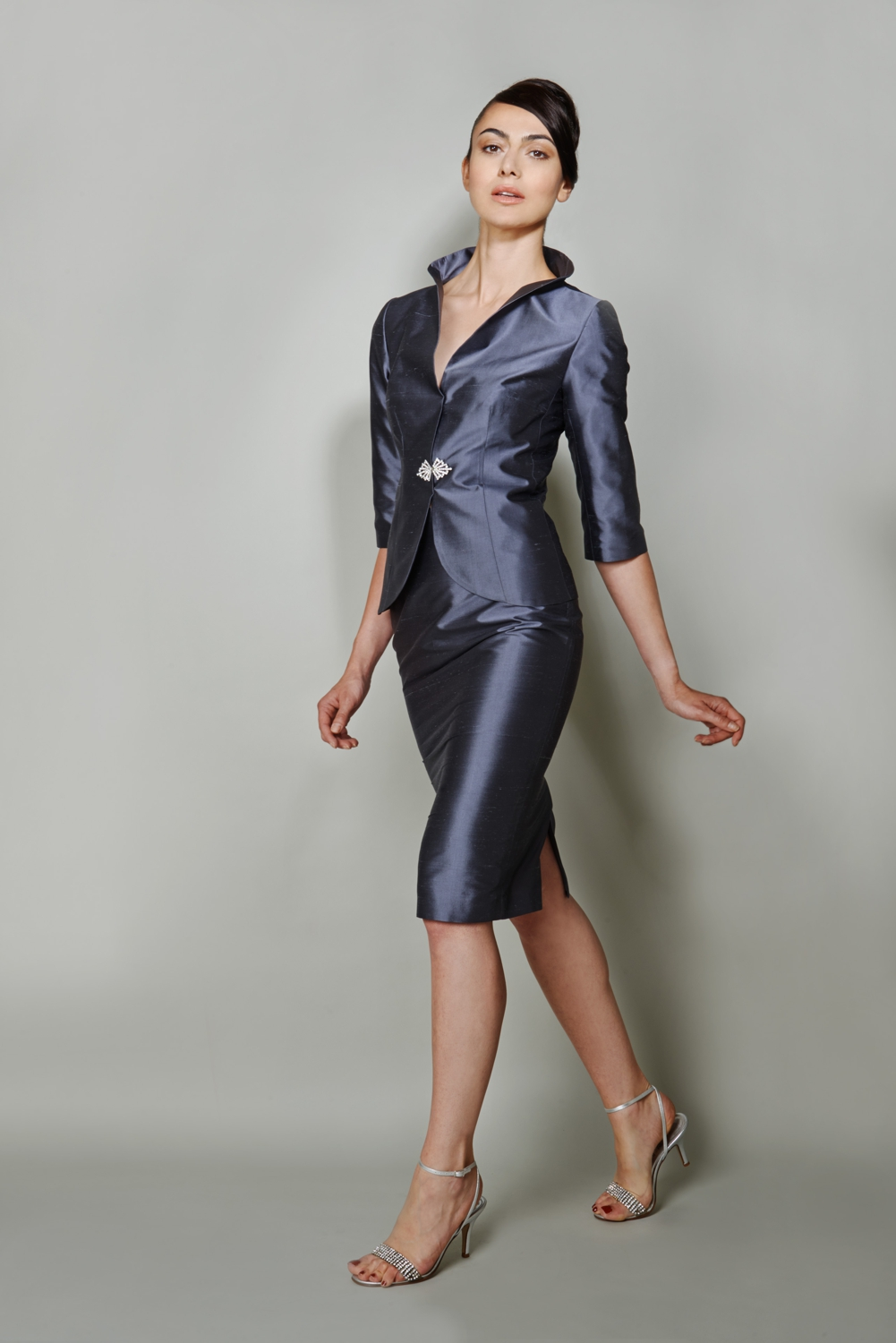 Grey silk designer occasion wear suit with stand-up collar