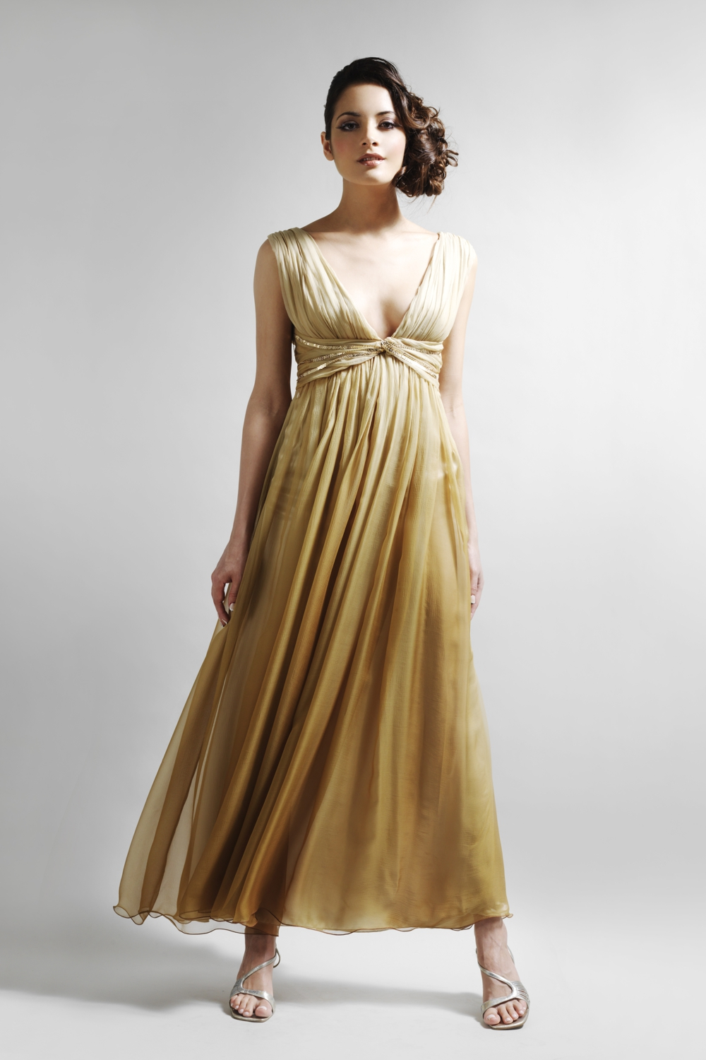 Gold ombre silk chiffon designer dress