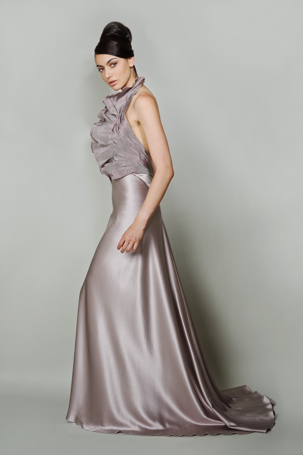 Lilac couture silk evening gown with frill detail