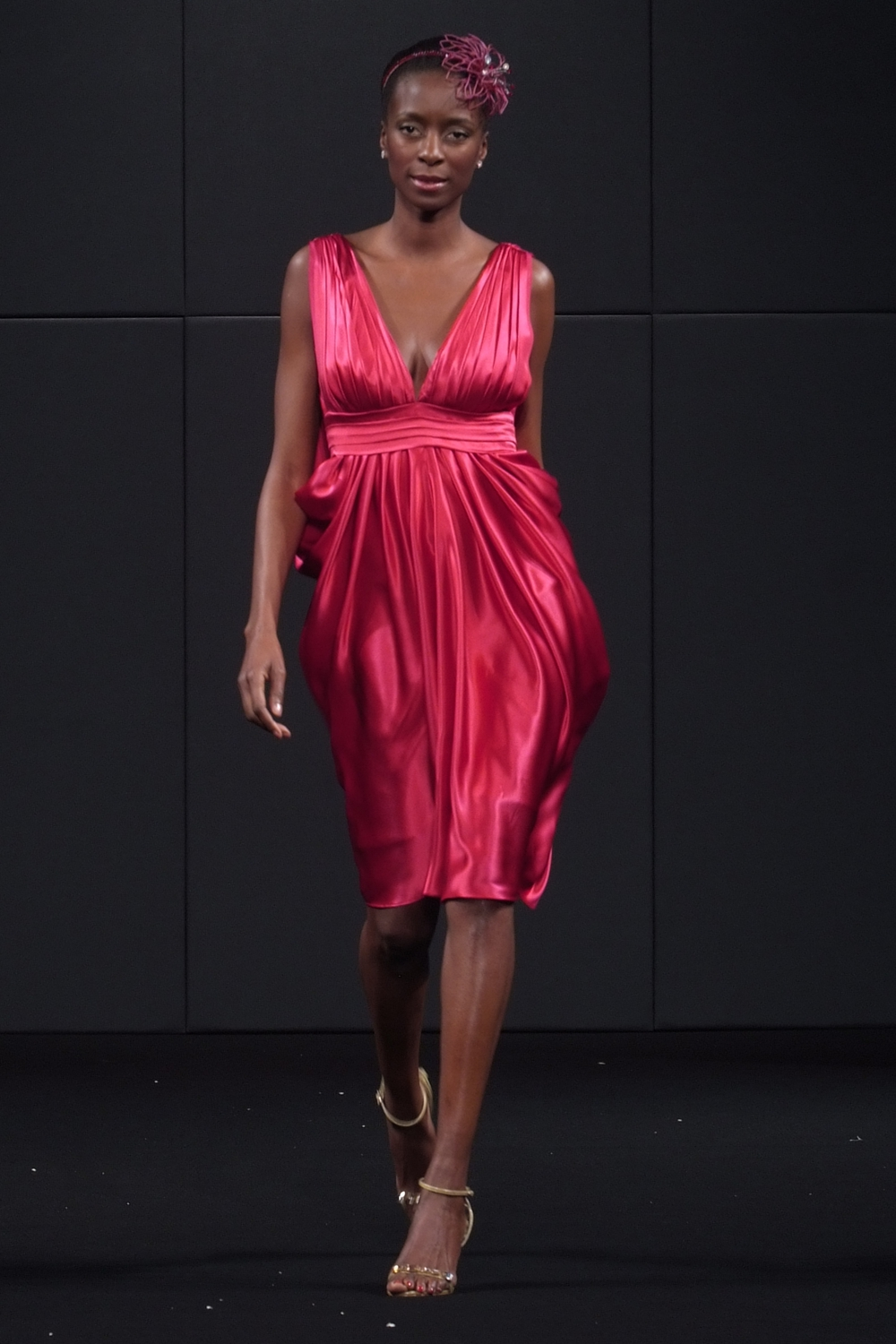 Red draped silk designer cocktail dress