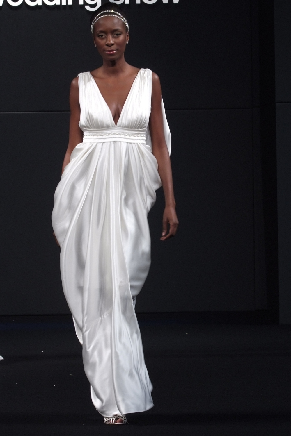 Fluid Grecian designer silk wedding dress