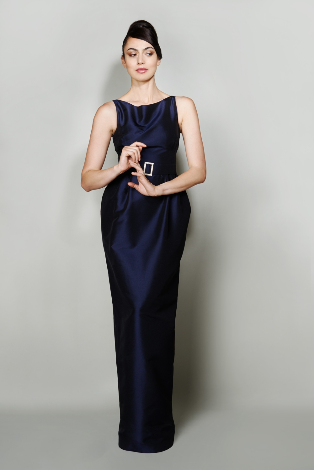 Navy tulip column style silk evening gown