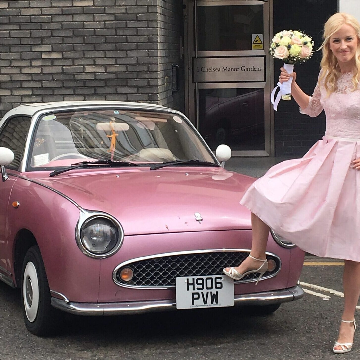 Pink 50's style bespoke wedding tea dress