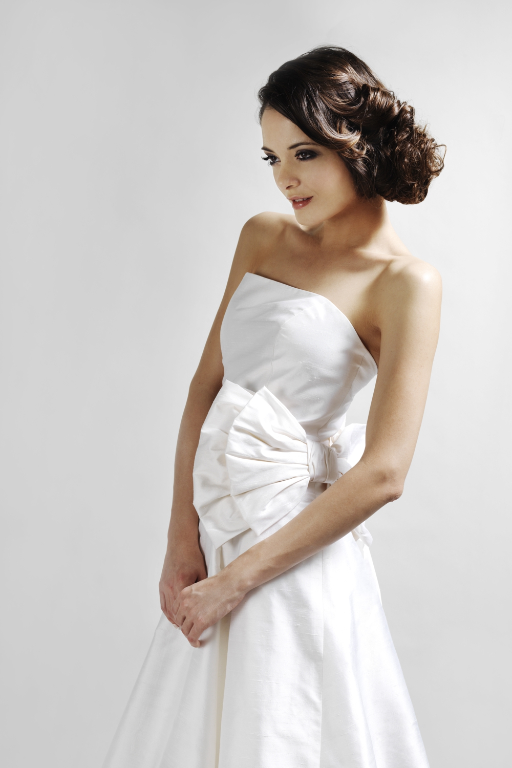 Bridal strapless silk ball gown with giant bow