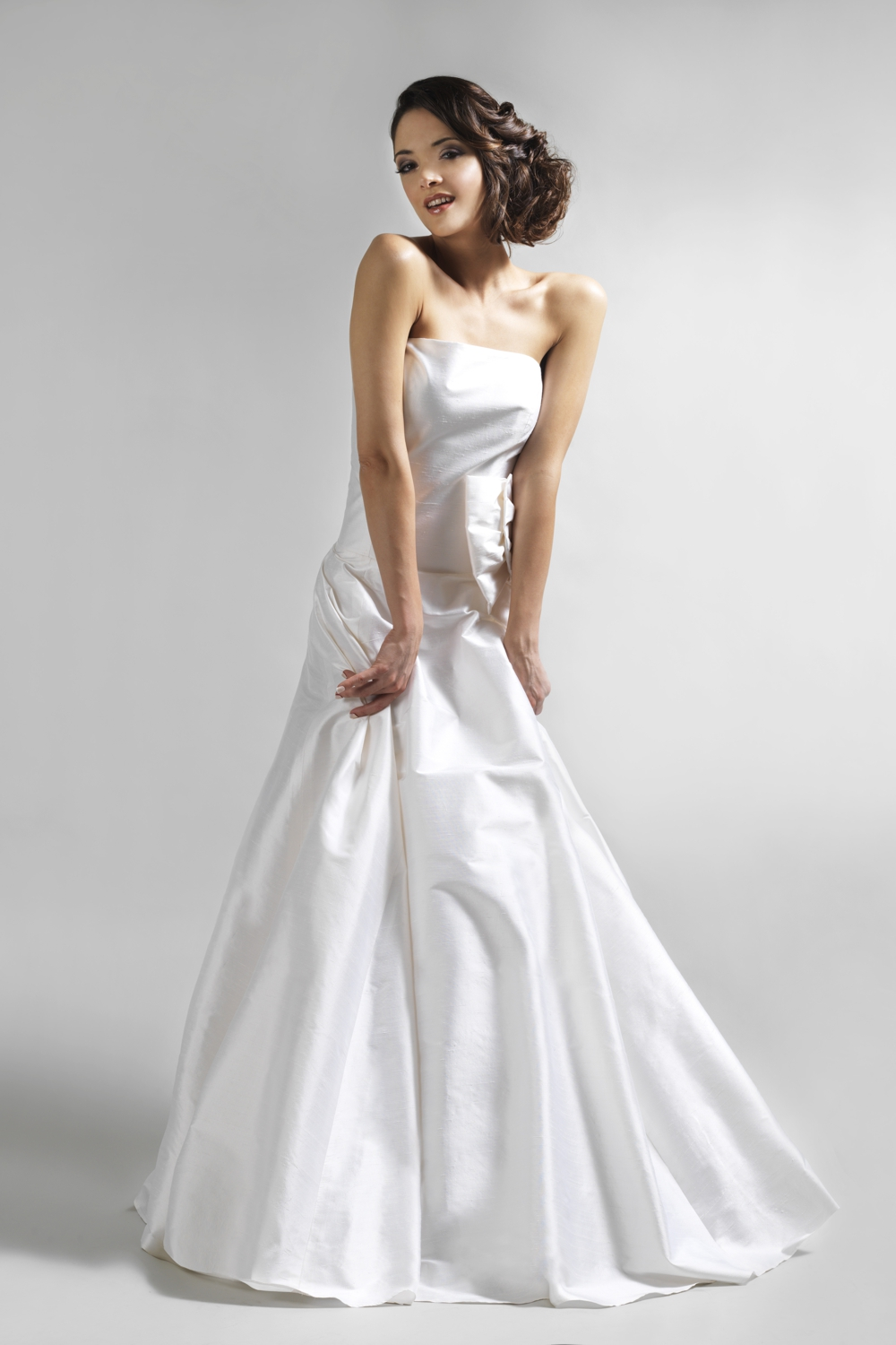 Silk wedding dress with bow