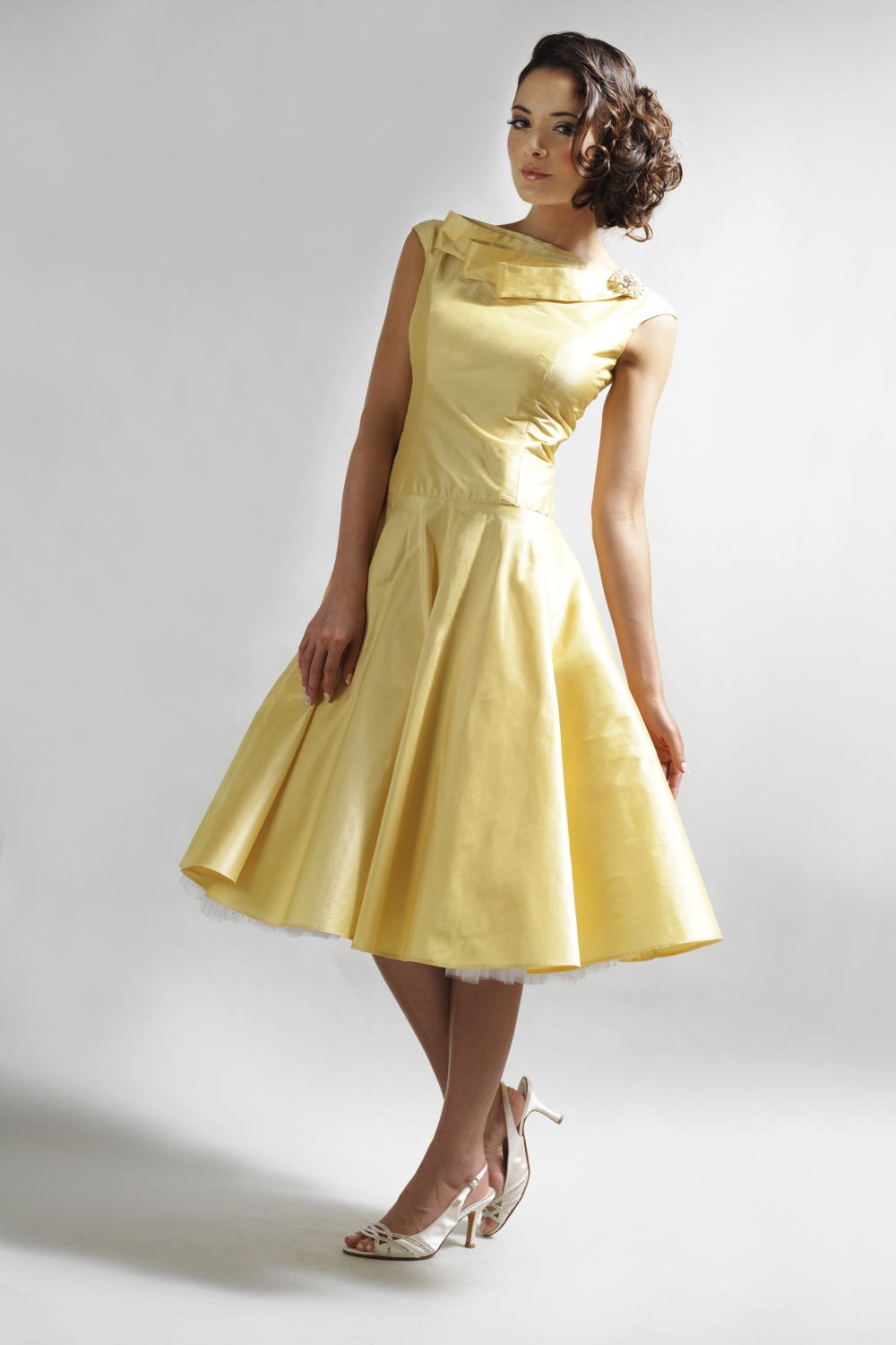 Yellow 50's style silk couture tea dress