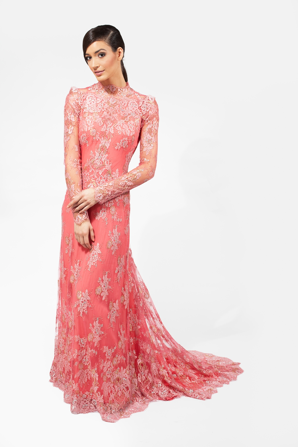 French lace couture gown in Coral