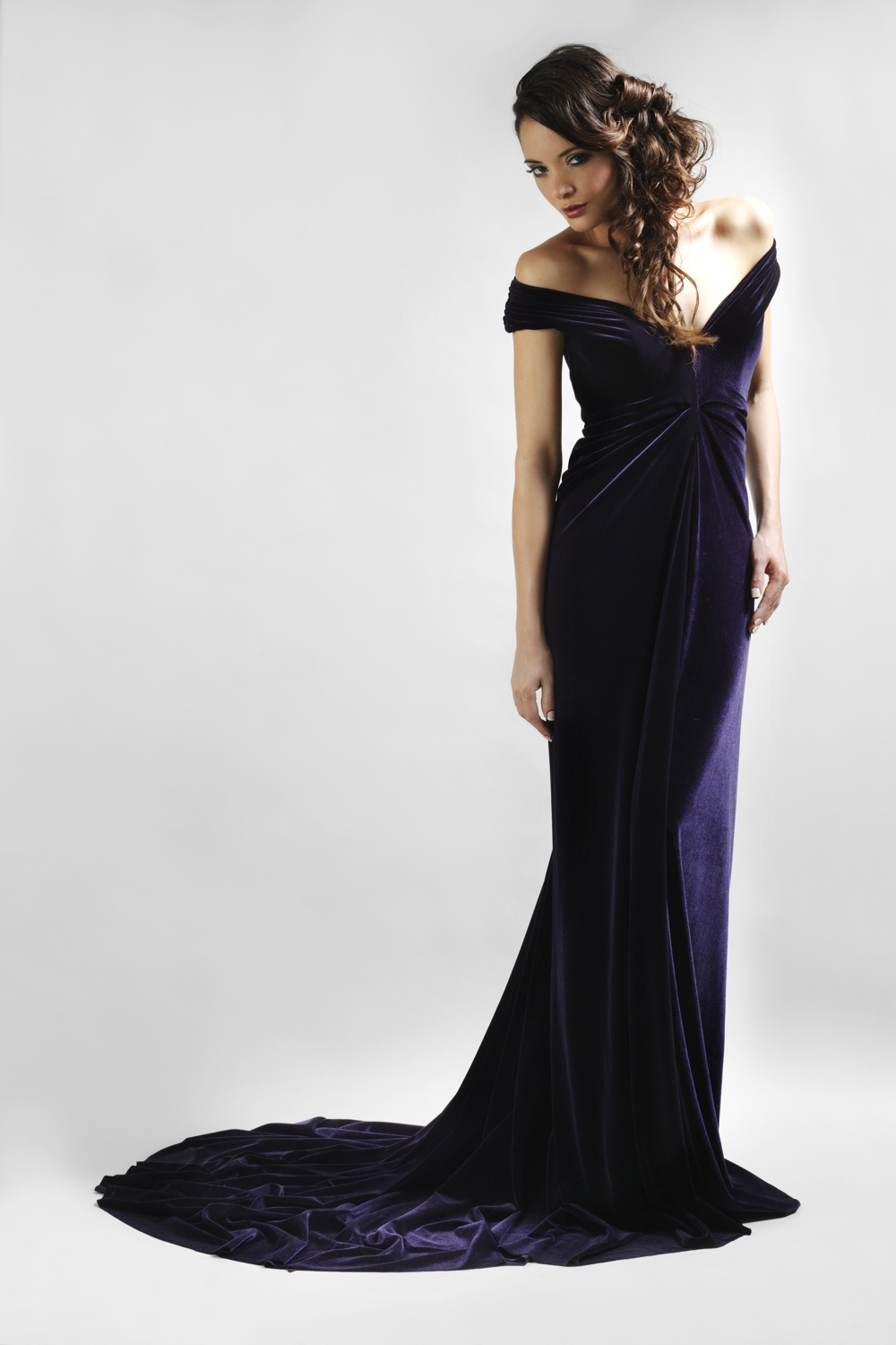 Purple velvet couture evening gown