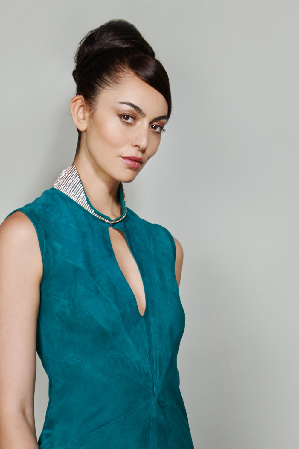 Emerald suede designer evening gown
