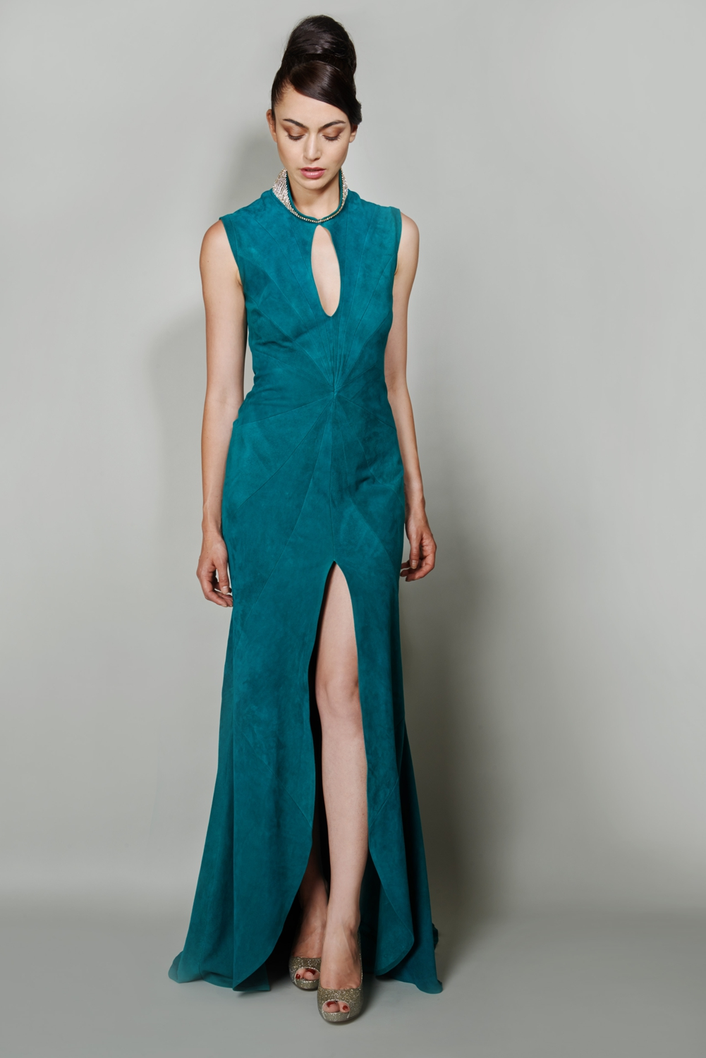 Emerald suede couture evening gown