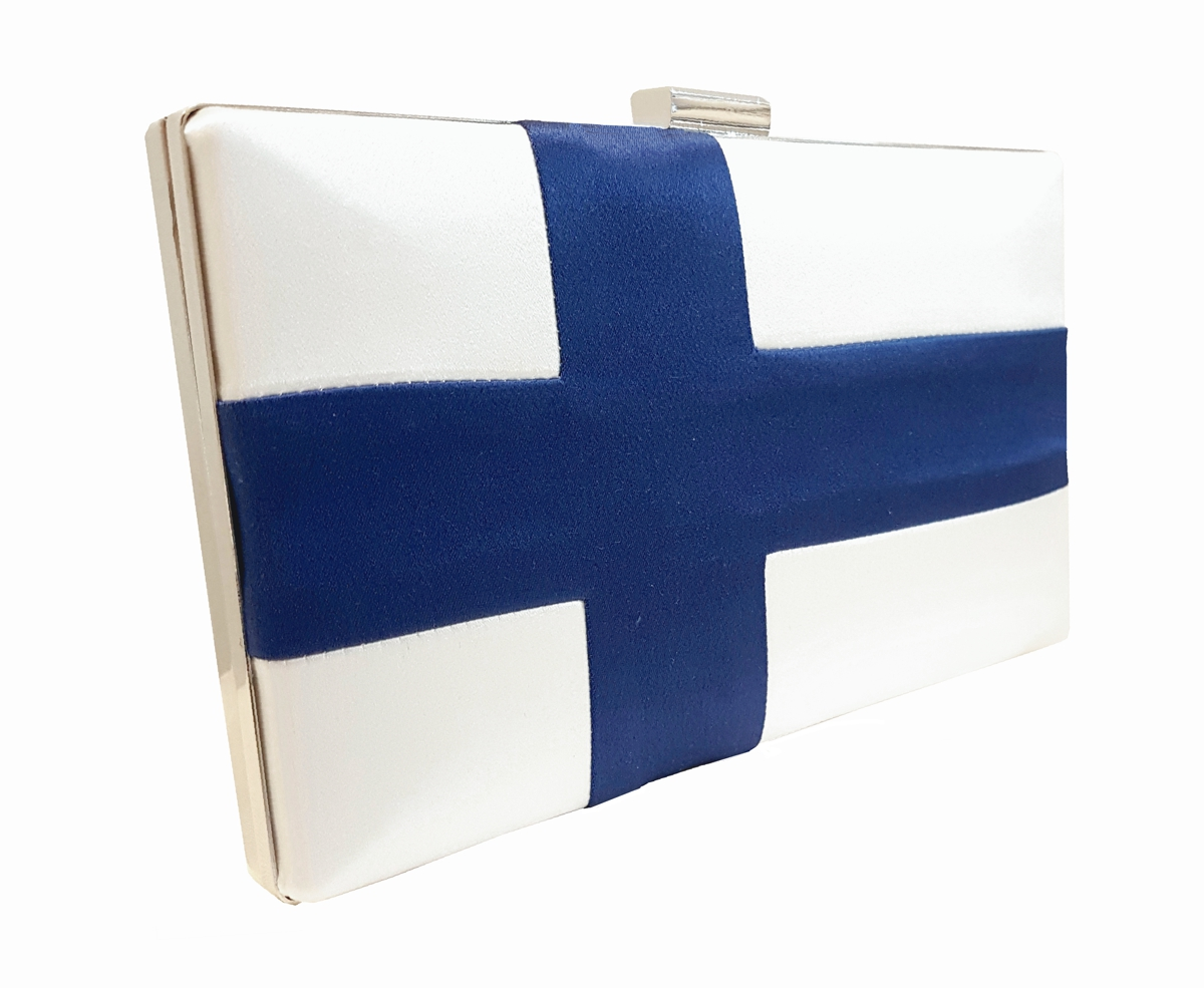 Finnish flag silk box clutch bag