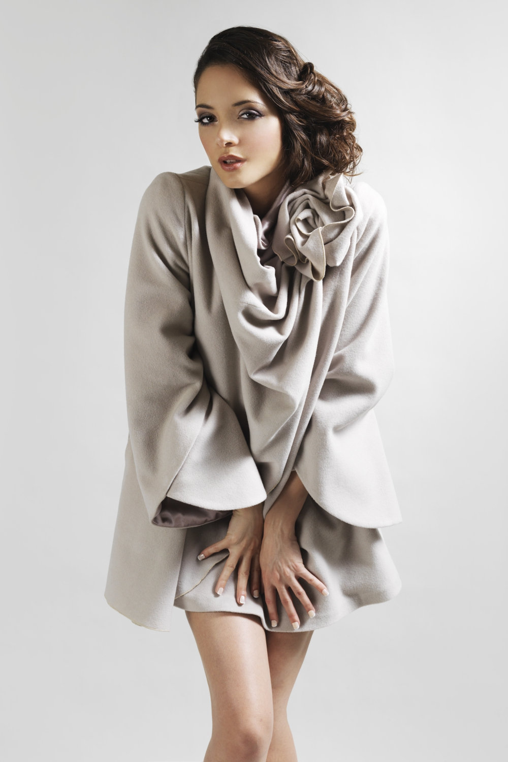 Wool designer coat with flower detail