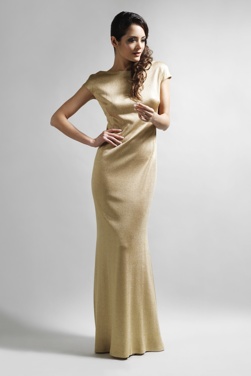 Gold jersey full length evening gown