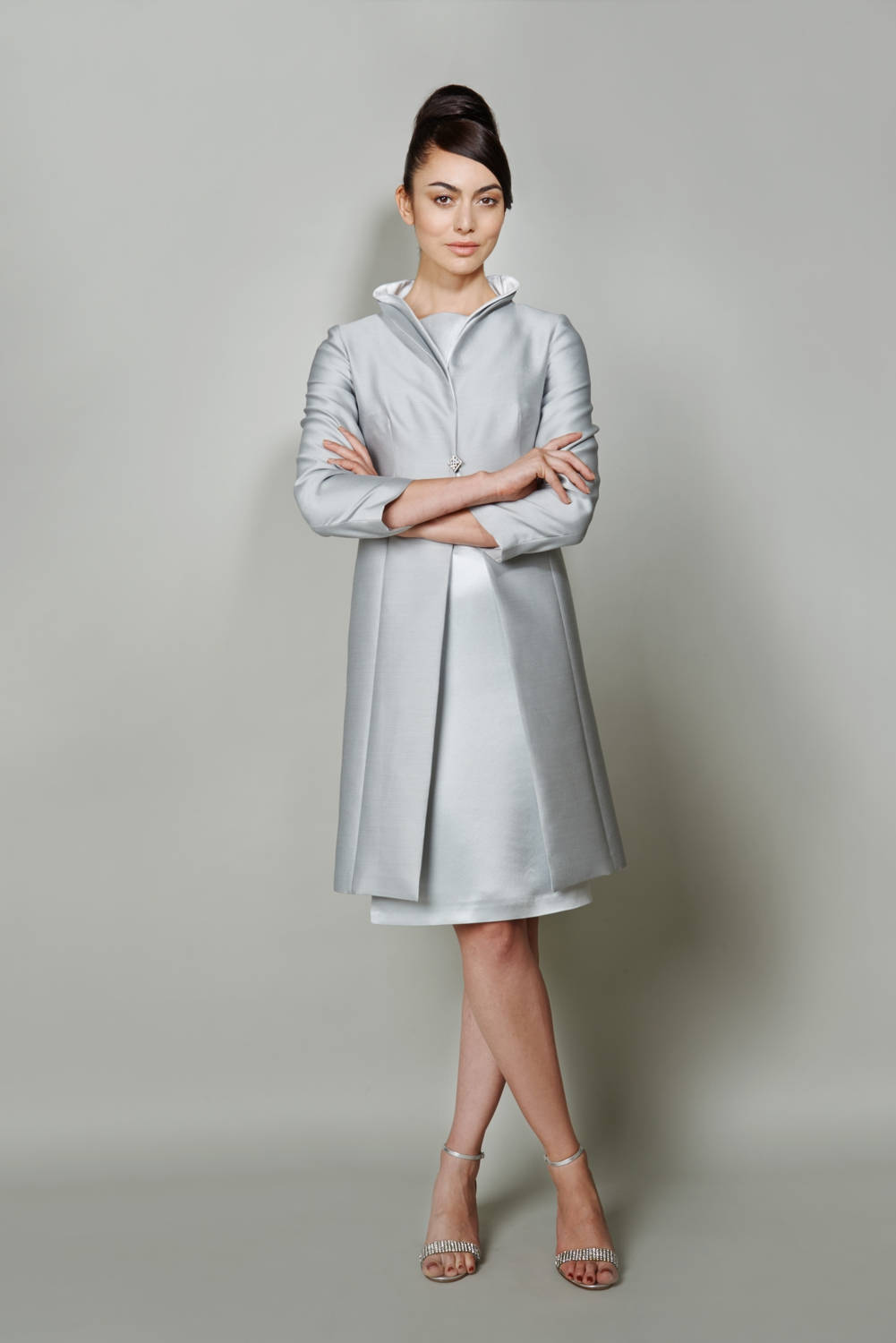 Silk wool coat and dress suit in pale blue