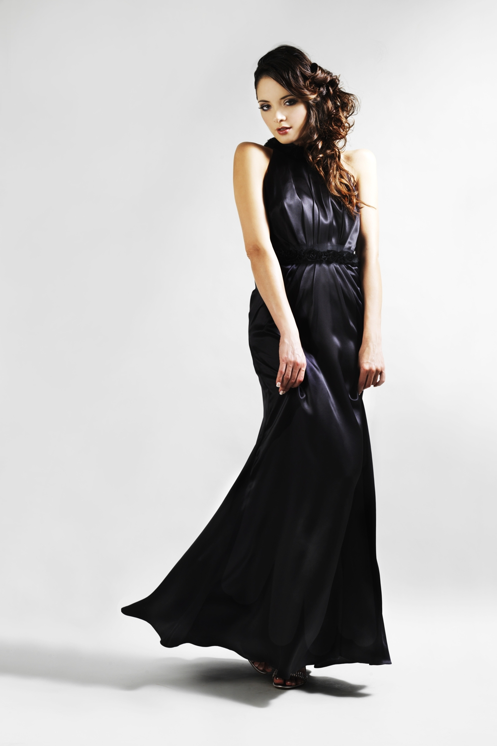 Black silk couture evening gown