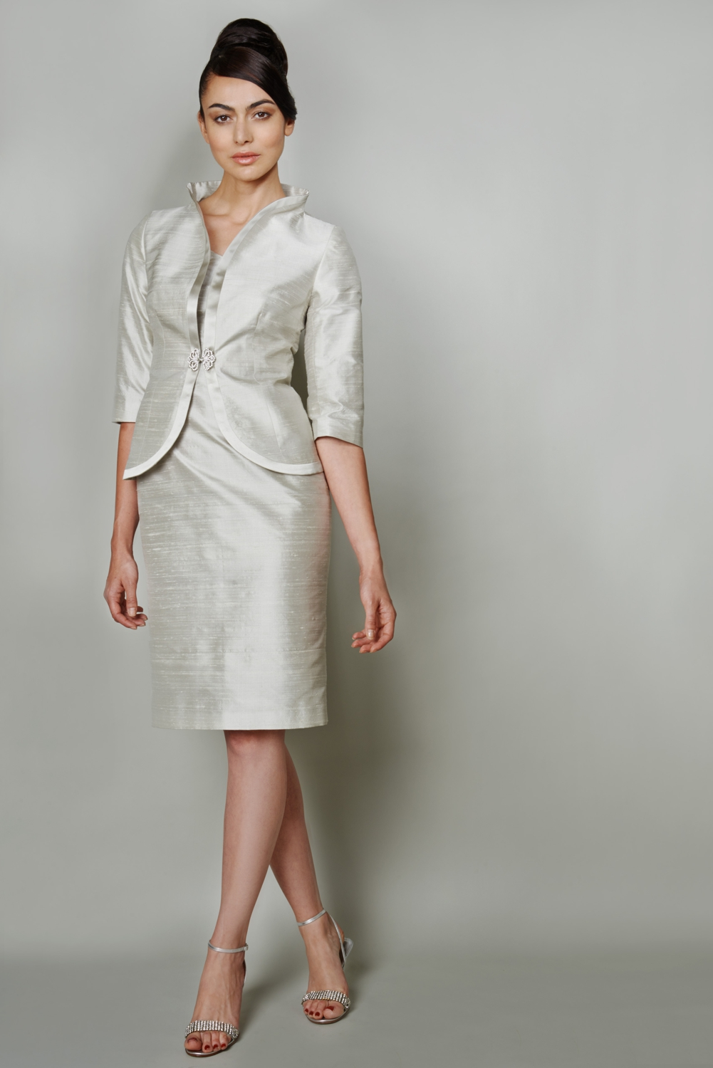Silver raw silk fitted two piece suit
