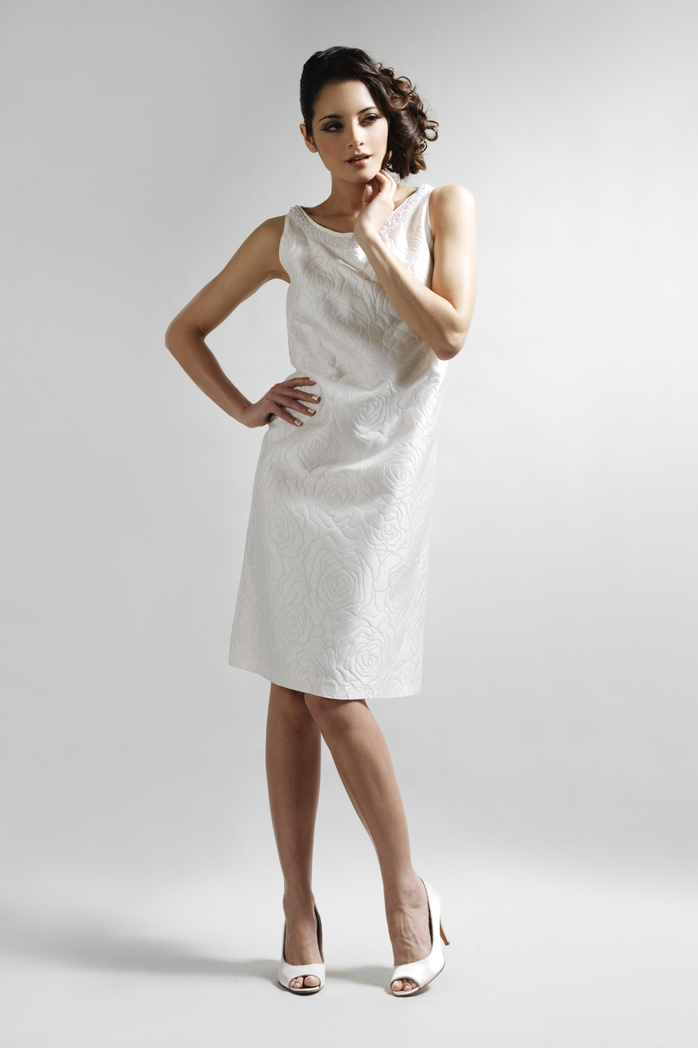 Ivory A-line silk dress with pearl detail