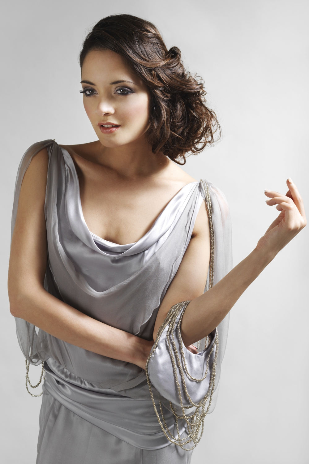 Silver chiffon silk couture gown with cowl neck