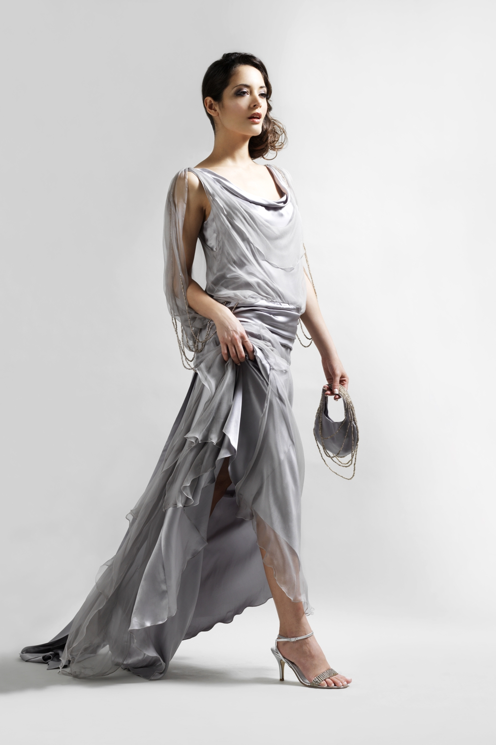 Silver silk chiffon vintage style evening gown