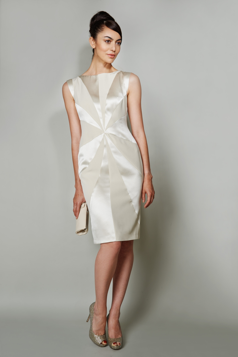 Silk panel designer cocktail dress