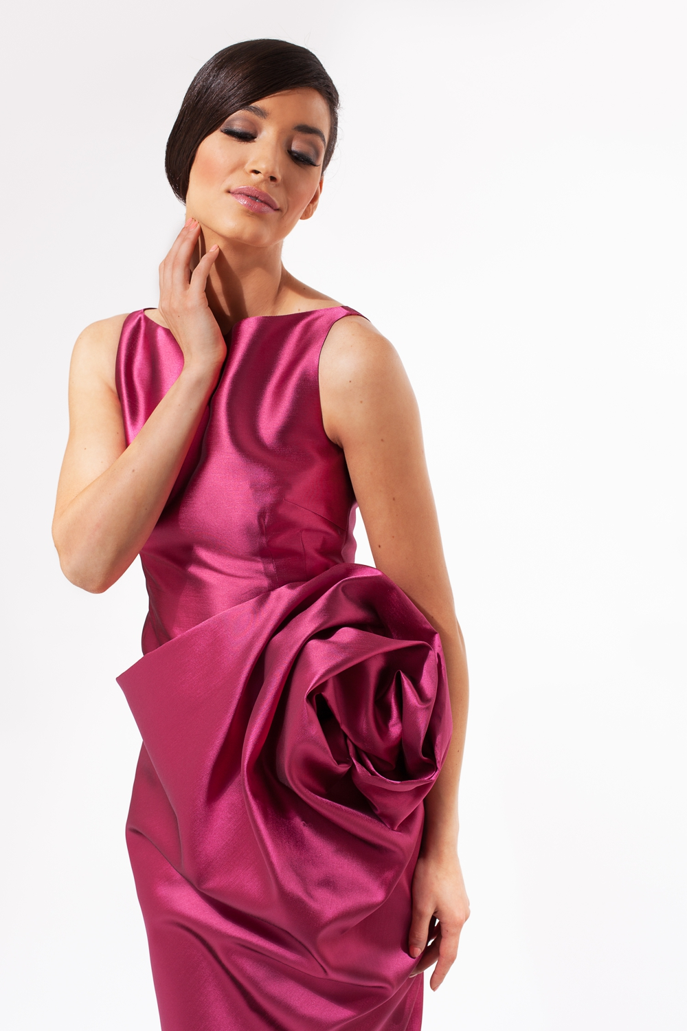 Fuchsia pink draped couture cocktail dress