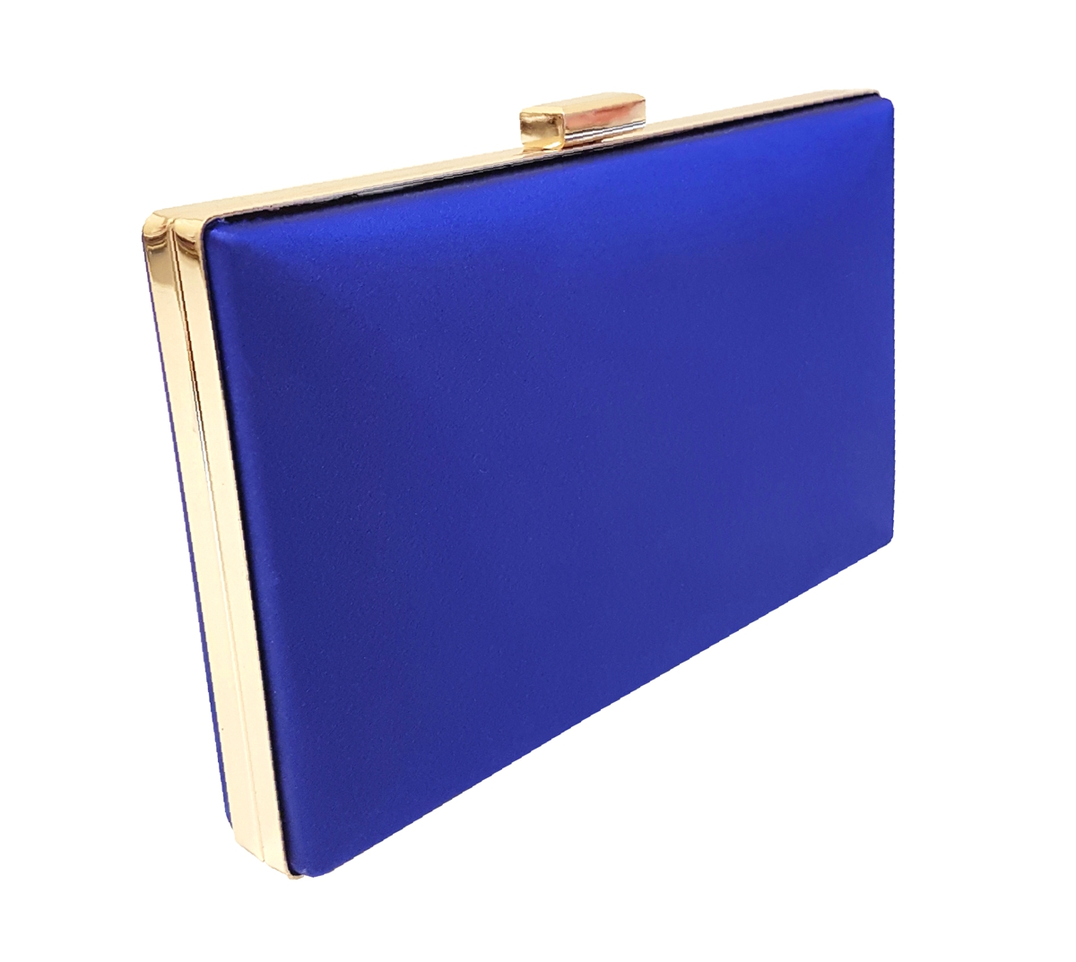Royal blue silk box clutch bag with gold frame