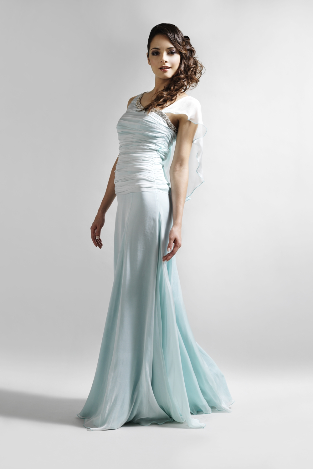 Aqua silk chiffon couture evening gown