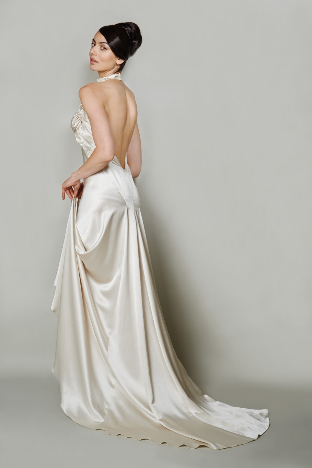 Open back silk couture wedding dress