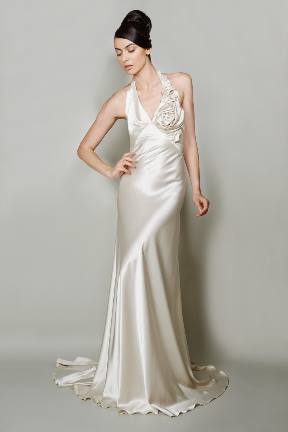 Silk couture wedding dress with sculptured flower
